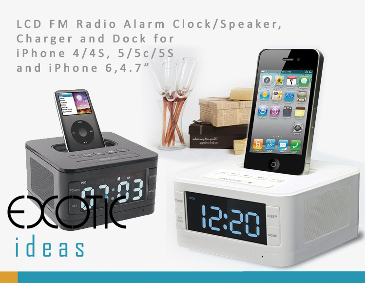 """LCD FM Radio Alarm Clock/Speaker,  Charger and Dock for  iPhone 4/4S, iPhone 5/5C/5S and iPhone 6,4.7"""""""