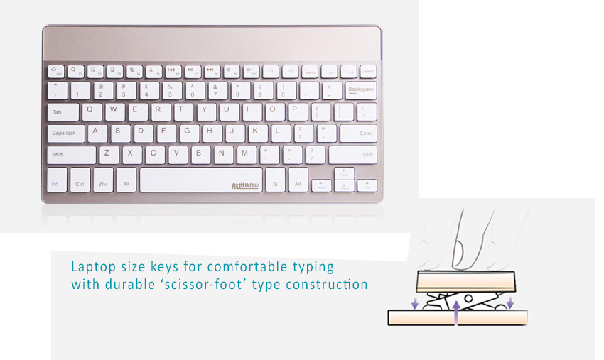 BOW Bluetooth 3.0 Ultra Thin (4mm) Keyboard for Apple iOS, Windows OS, Android OS. Delicate Color Choice: Champagne + Bamboo Keys