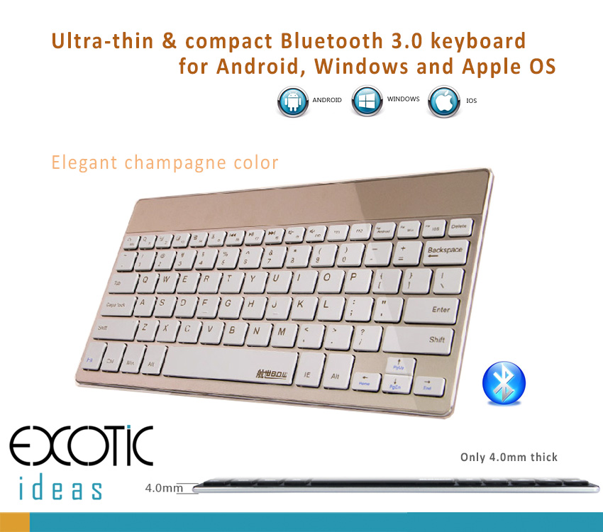 BOW Bluetooth 3.0 Ultra Thin (4mm) Keyboard for Apple iOS, Windows OS, Android OS. Delicate Color Choices: Champagne