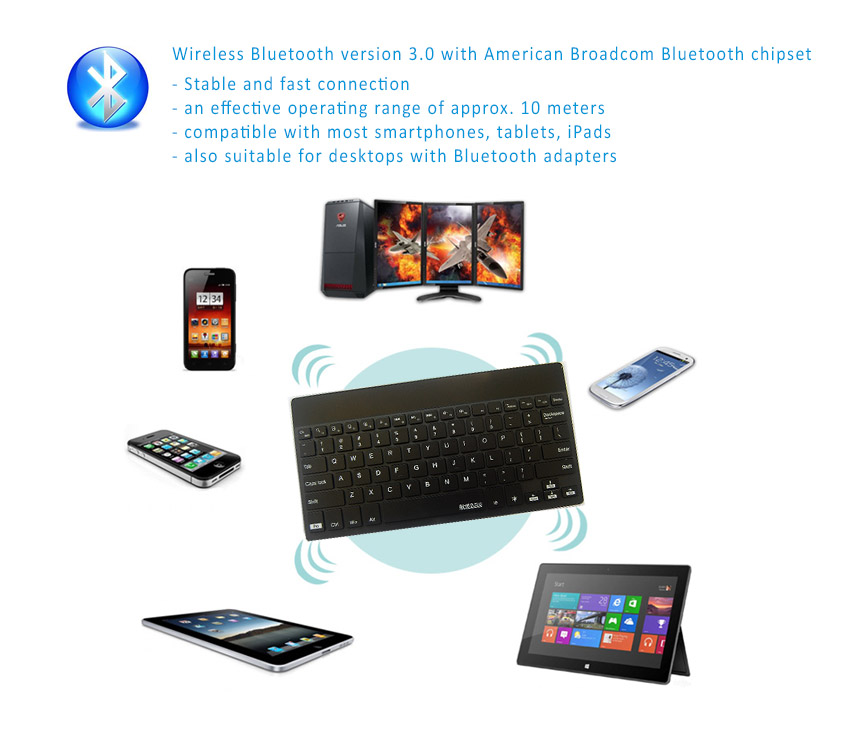 BOW Solar and Li-on Battery Dual Power Bluetooth 3.0 Ultra Thin Keyboard with Backlit design for Apple iOS, Windows OS and Android 4.0 or above