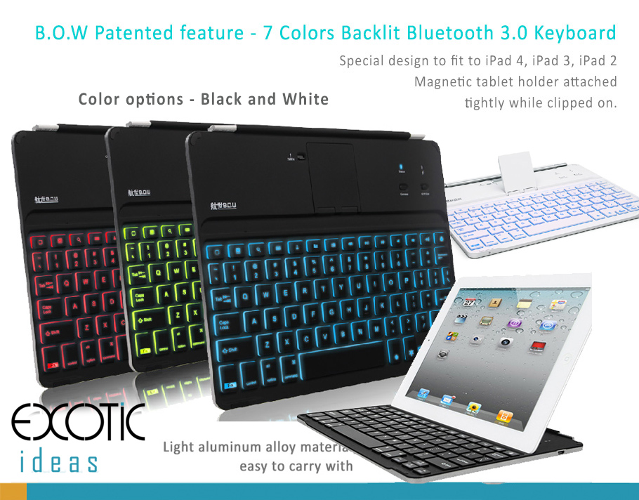 BOW Illuminating Backlit Bluetooth 3.0 keyboard for iPad 2, iPad 3, iPad 4 with multiple color backlight, flip out stand