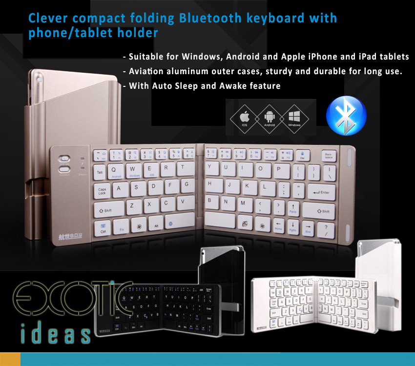 BOW Broadcom Bluetooth 3.0 Keyboard for Apple iOS, Windows OS and Android 4.0 or above, Foldable design, Easy to carry around. Aviation aluminum outer cases, sturdy and durable for long use.