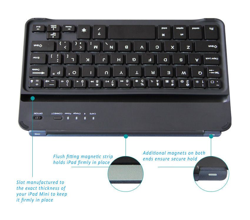 BOW Illuminating Backlit Bluetooth 3.0 keyboard for iPad Minii, Mini Retina, mini 3 with multi-colors backlight design