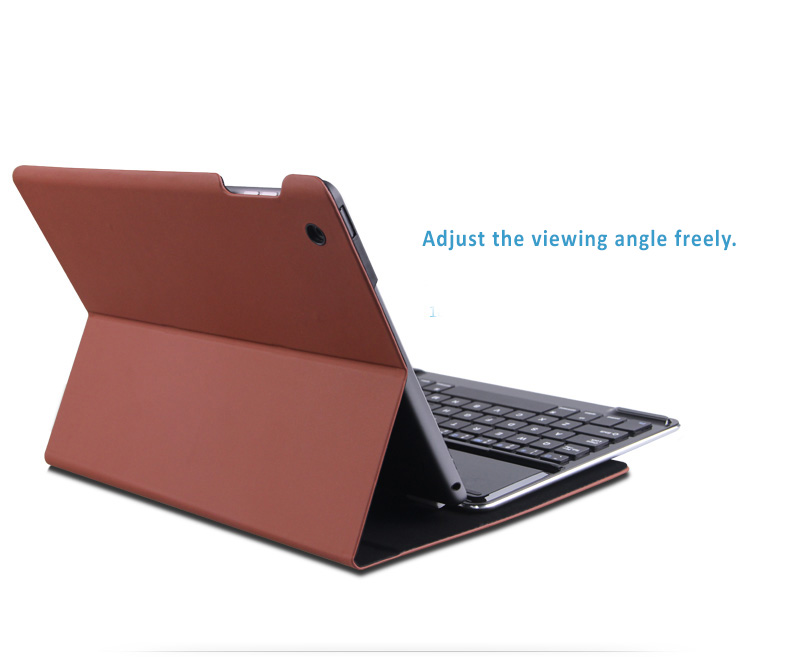 B.O.W. Bluetooth 3.0 keyboard on light aluminum alloy case with shaft to join with iPad Air 2 perfectly. (Protective Cover Optional)