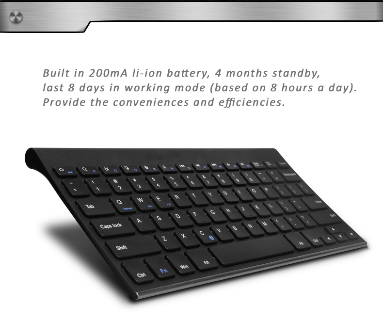 B.O.W Universal Bluetooth 3.0 QWERTY Keyboard with Special Ergonomic Design -  Preventing the harm for long use with keyboards. Supports Android, Windows and iOS systems