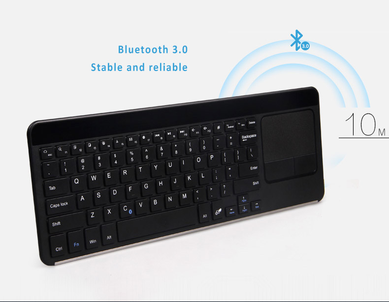 B.O.W Ultra Thin Universal Bluetooth 3.0 Keyboard with Touchpad, Special Ergonomic Design -  Preventing the harm for long use. Supports Android, Windows and iOS systems