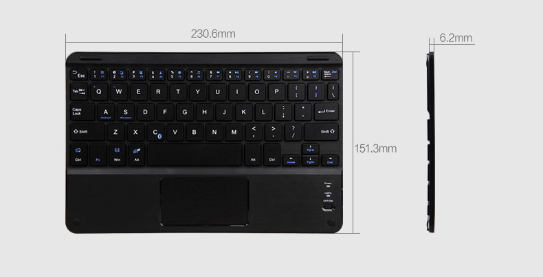 BOW Ultra thin Universal Bluetooth 3.0 QWERTY Keyboard with multiple touch mouse pad for Apple, Android, Windows