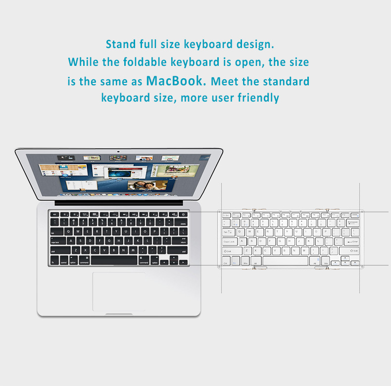 Dual Channel Dual Mode Wired and Wireless Bluetooth 3.0 Keyboard Compact foldable design, High Quality. Aviation Standard Aluminum Case and Scissor Keys, Fits to Apple iOS, Mac, Windows OS and Android 4.0 or above