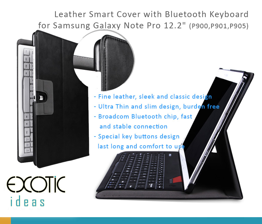 "B.O.W Fine Genuine Leather Smart Cover with Removable/Detachable Bluetooth 3.0 Keyboard for Samsung GALAXY NOTE PRO12.2"" (P900/P901)"