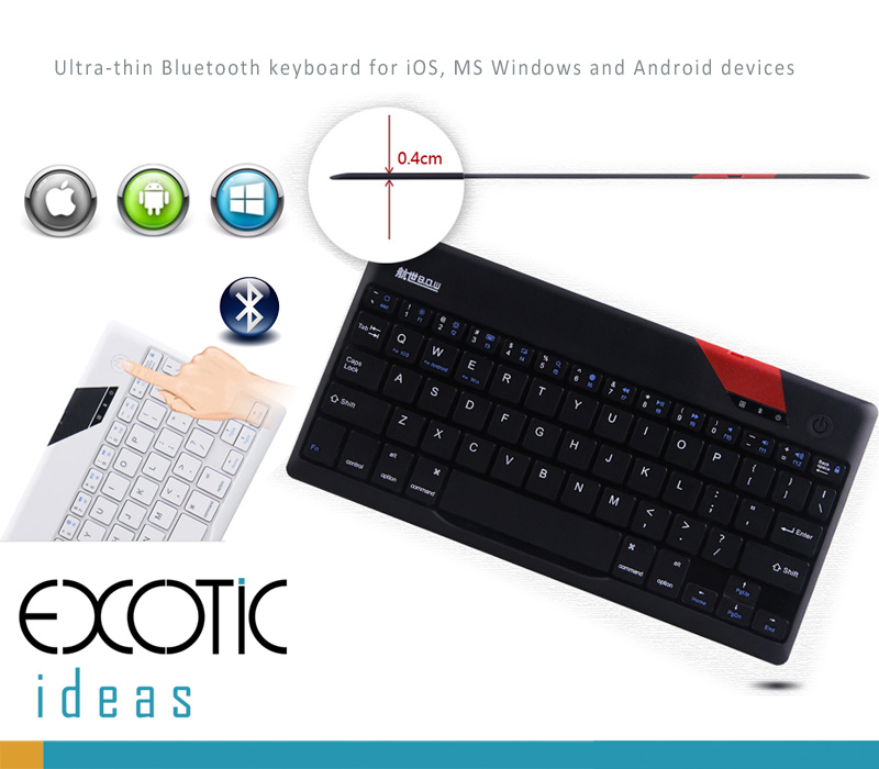 "BOW Bluetooth 3.0 Ultra Think (4 mm) Keyboard for Apple iOS, Windows OS and Andriod 4.0 or above, firt to 9"" and 10.1"" Tablets"