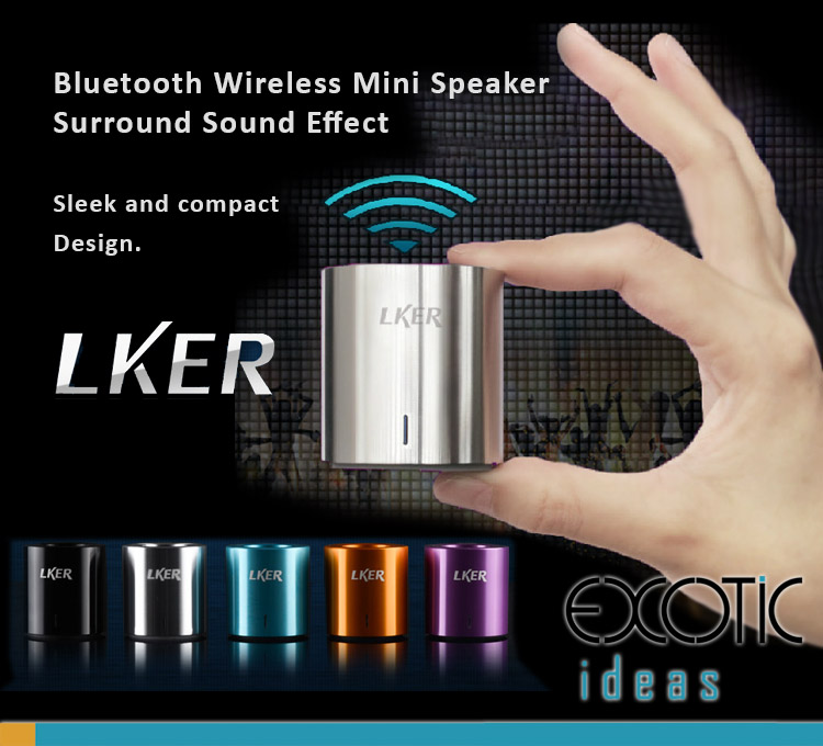 LKER Bluetooth3.0 Wireless Surround Nature Sound Mini Speaker - for Smartphones, Tablets, PCs