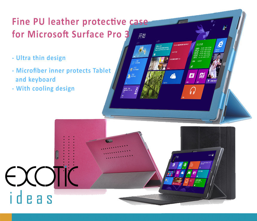 Ultra Thin Fine PU leather protective case  for Microsoft Surface Pro 3 - with cooling design, elastic band