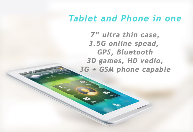 "Qualcomm Dual Core Android 4.04 7"" Tablet, 3G, WiFi Bluetooth, GSM Phone, GPS, Skype, 3D Games"