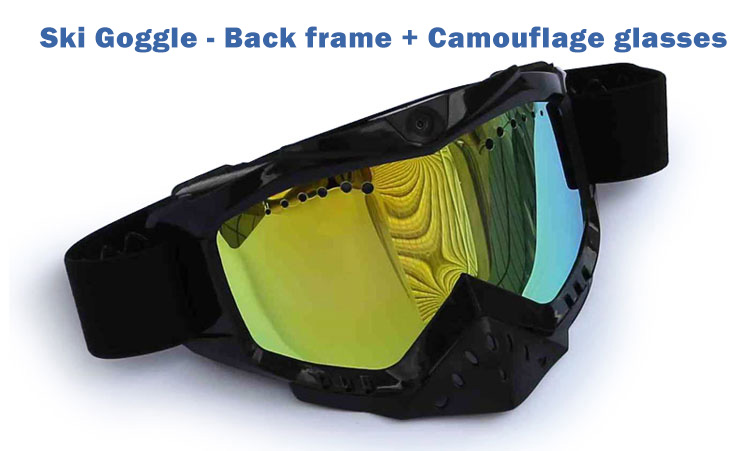 Ski Goggle MX Goggle with HD 1080P wide-angle video camera, good breathable design, wide soft elastic band.