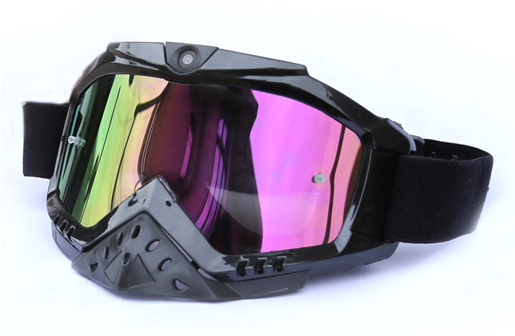 Ski Goggle MX Goggle with HD 1080P wide-angle video camera, good breathable design, wide soft elastic band.