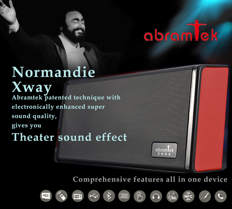 Abramtek Normandie Xway Bluetooth MP3 Player Speaker with Surround Sound and Subwoofer Effect, FM, NFC sensor - works as external stereo speaker for smart phones, iPads, notebooks, PCs - With Remote Control