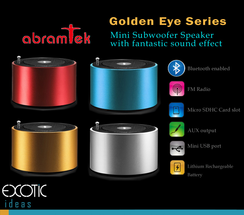 Abramtek Golden Eye X2 - Bluetooth Enabled MP3 Player with Surround Sound and Subwoofer Effect Speaker.  Works as external speakers for smart phones, iPad, notebooks