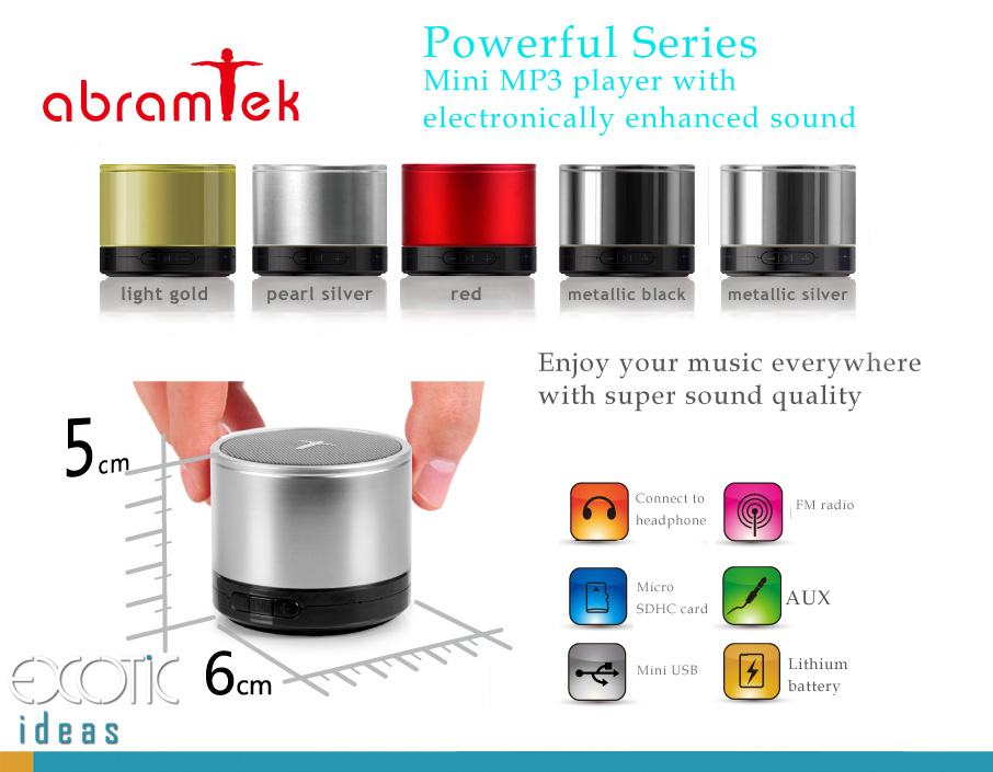 Abramtek Powerful II -	 MP3 Player with Surround Sound and Subwoofer Effect Speaker.  Works as external speakers for smart phones, iPad, notebooks