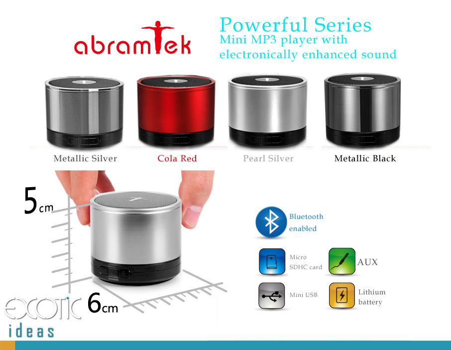 Abramtek Powerful III - Bluetooth Enabled MP3 Player with Surround Sound and Subwoofer Effect Speaker.  Works as external speakers for smart phones, iPad, notebooks