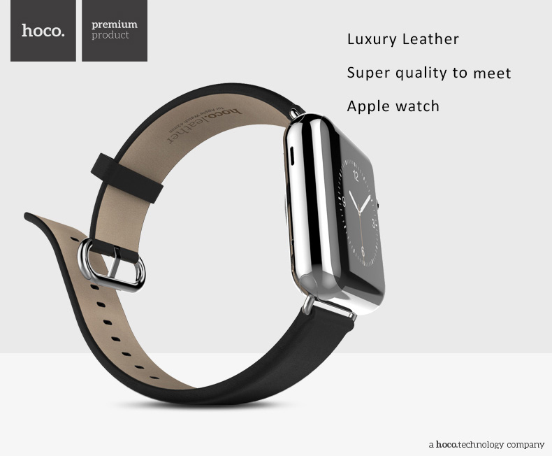HOCO - Elite Series - Quality Cowhide Leather Watch Band for Apple Watch 38mm, 42mm. Loop Strap with 314L Stainless Buckle-- Images from exotic-ideas.com