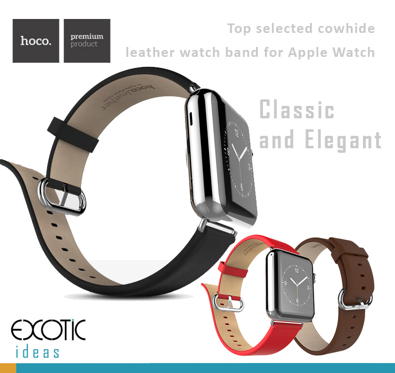 HOCO - Elite Series - Quality Cowhide Leather Watch Band for Apple Watch 38mm, 42mm. Loop Strap with 314L Stainless Buckle - Images from exotic-ideas.com