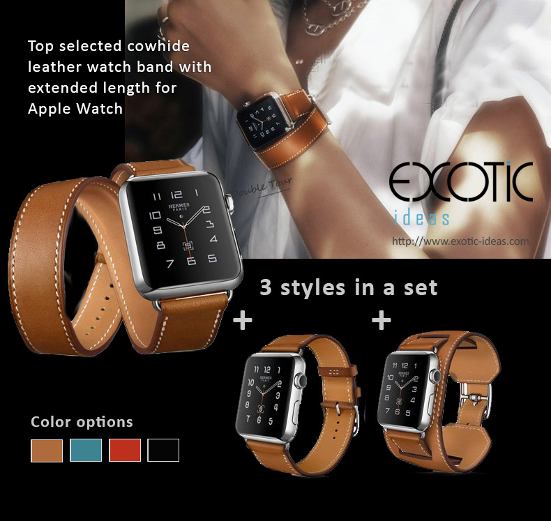 Quality Cowhide Leather Watch Band for Apple Watch 4, 3, 2, 1 - 38mm, 42mm. Loop Strap with extended length, 3 styles in One, Single Loop, Double Loop Strap and Bracelet.