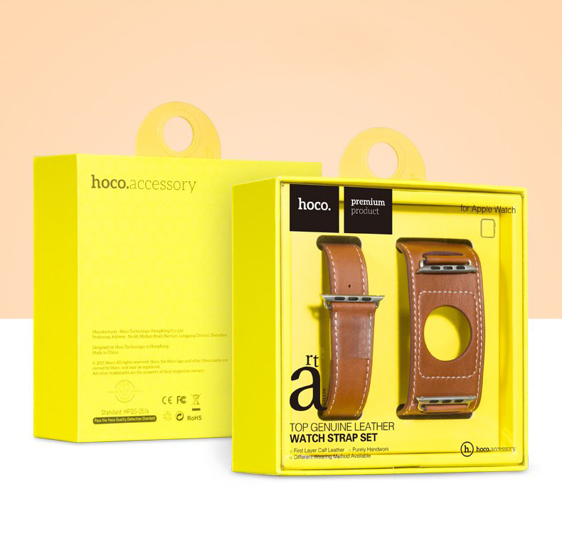 exotic-ideas.com - HOCO - Quality Cowhide Leather Watch Band for Apple Watch 38mm, 42mm. Loop Strap with extended length, 3 styles in One, Single Loop, Double Loop Strap and Bracelet