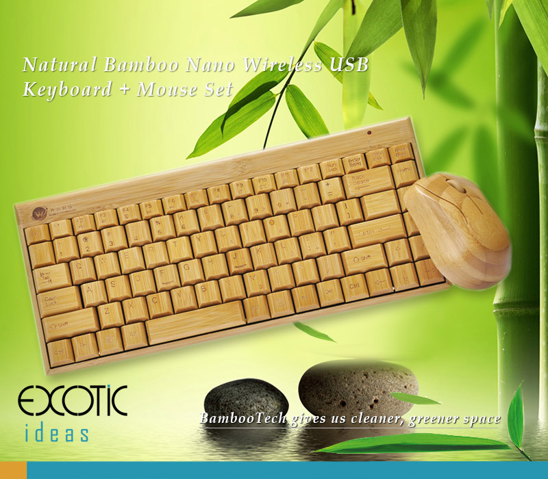 Pure Natural Bamboo Wireless 88 Keys Keyboard + Natrual Bamboo Mouse Set with Nano USB Wireless Receiver