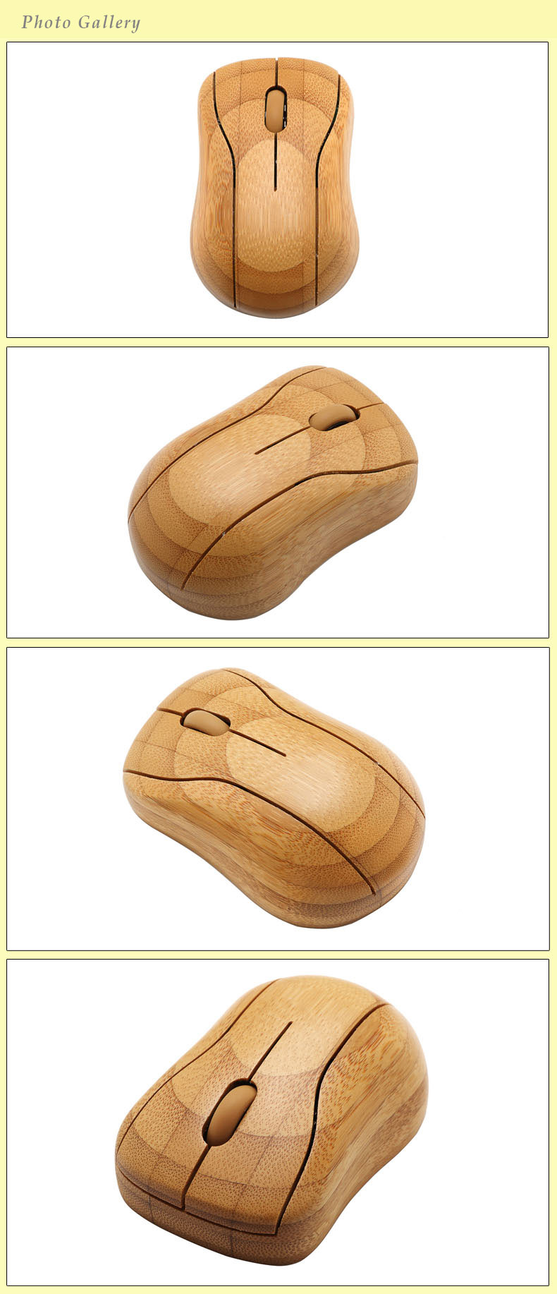 Natural Bamboo Nano Wireless USB 2.4GHz Mouse with ancient wisdom words carving