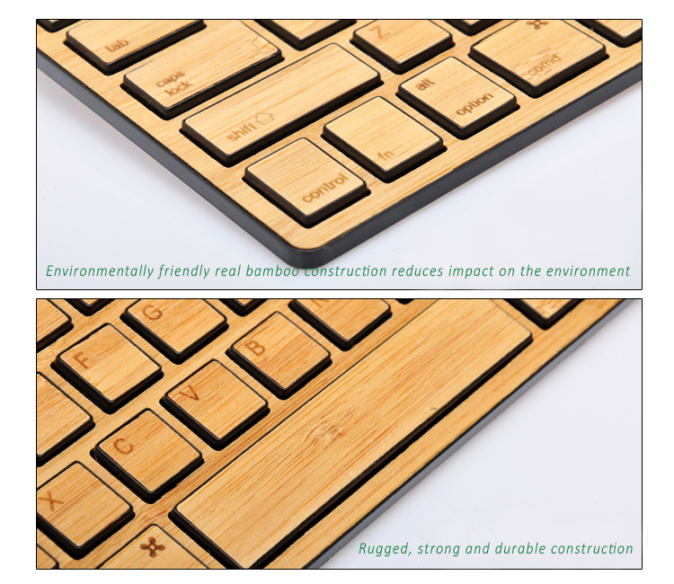 Natural Bamboo Ultra-slim Universal  Bluetooth 3.0  Keyboard, Works with iOS, Android and Windows devices, Most Eco friendly.