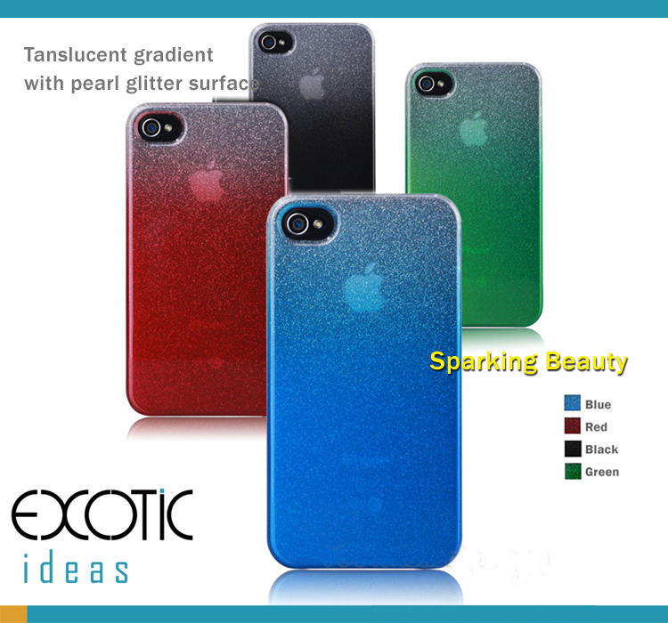 iPhone 4 4S Case Skin - Bestus Tanslucent Gradient  with Pearl Glitter Surface, German non-toxic Eco PC
