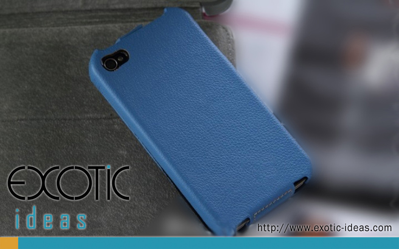 iPhone 4. 4S Case Skin with  Flip Cover - Luxury Hand-Made Genuine Lambskin Leather Flip Case  - Blue Color