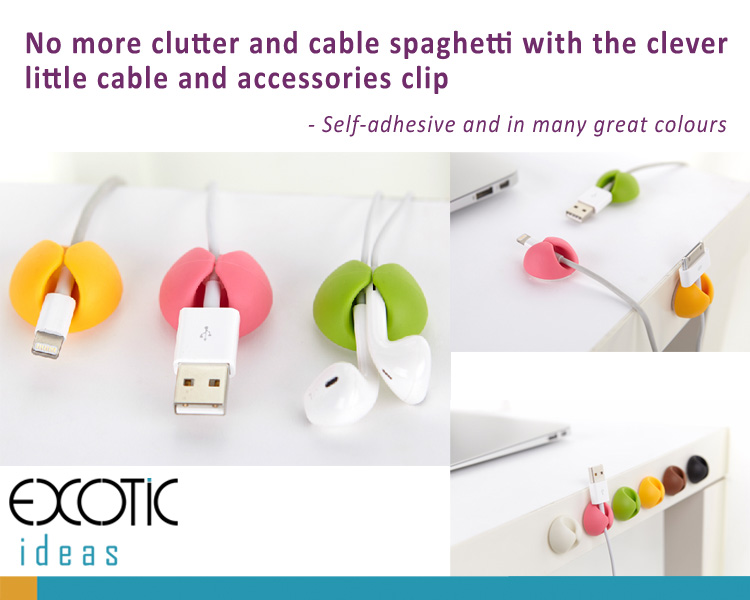 Multifunction silicone cable organizer , cable management holder with self-adhesive - No more clutter and cable spaghetti (6 colors in a pack)