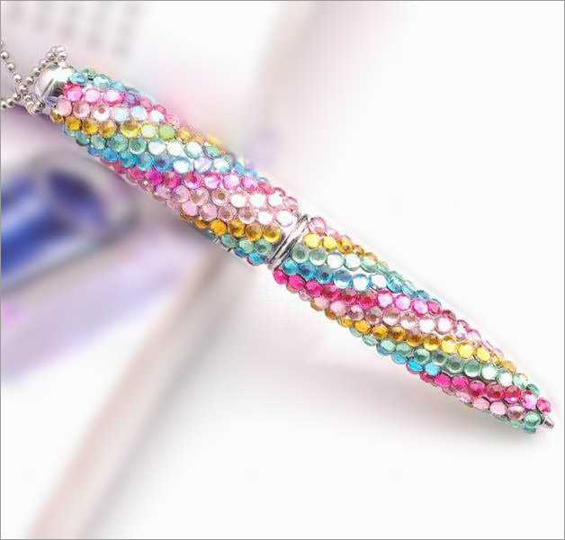 Kaleidoscope Series - Alloy Metal Ballpoint Pen with Fine Crystal Rhinestone Set - Kaleidoscope concept - length - 10.5 cm  - 2 in a Giftset