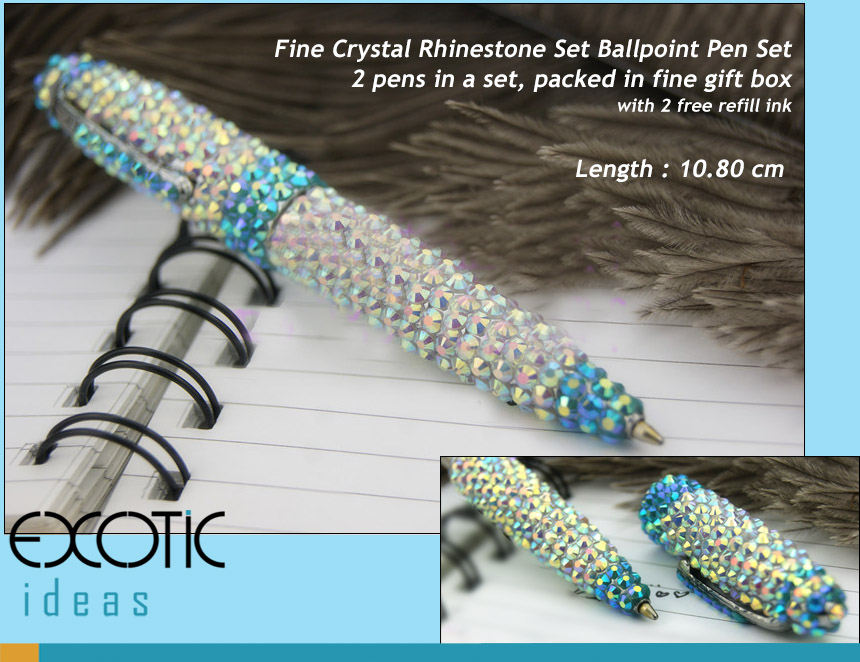 Alloy Metal Ballpoint Pen with Fine Crystal Rhinestone Set - Blue AB Cyrstal  - length - 10.5 cm