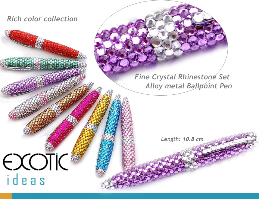 Ball-point Pen with Fine Crystal Rhinestone Set - Rich color selections- length - 10.5 cm