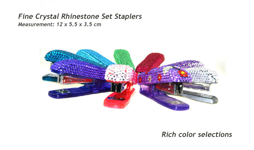 Alloy metal Staplers with Fine Crystal Rhinestone Set - Rich color selections- 12 x 5.5 x 3.5 cm