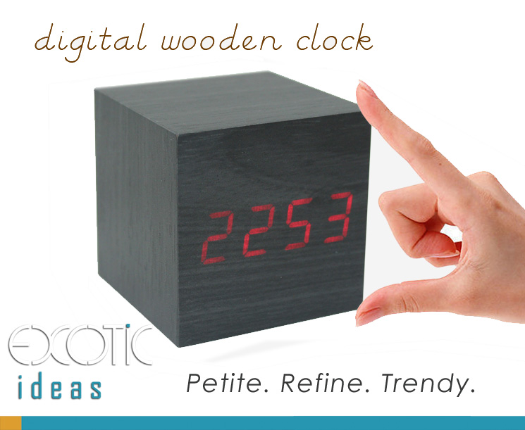 Mini Cube Grey Wood Skin Wooden Alarm Clock Red LED Display,  Time, Temperature, Sound Control