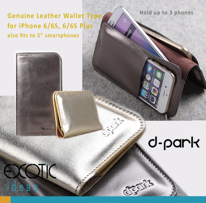 d-park Genuine Leather Wallet Type Protective Cases for iPhone 6/6S, iPhone 6/6S Plus - Crystal Seahorse Series- With Gold Shiny Technicolor Process.