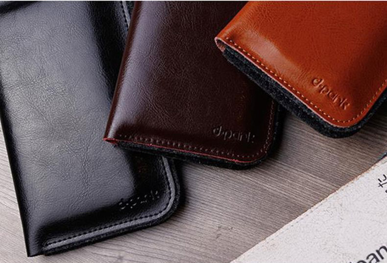 "d-park Genuine Cowhide Leather + Wool Wallet Protective Cases for iPhone 6 and iPhone 6 Plus, Also fits to screen 4""-5.5"" - Retro Style"
