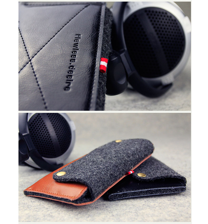 d-park Genuine Cowhide Leather + Wool Wallet Protective Cases for iPhone 6 - Retro Style