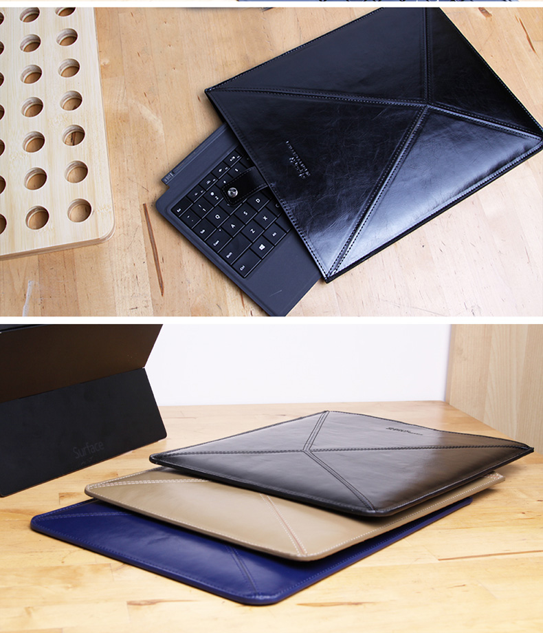 d-park Envelope Sleeve bags for Microsoft Surface Pro 3 and Pro 2, Made of Genuine Cowhide Leather. Durable, Waterproof, Anti-dust
