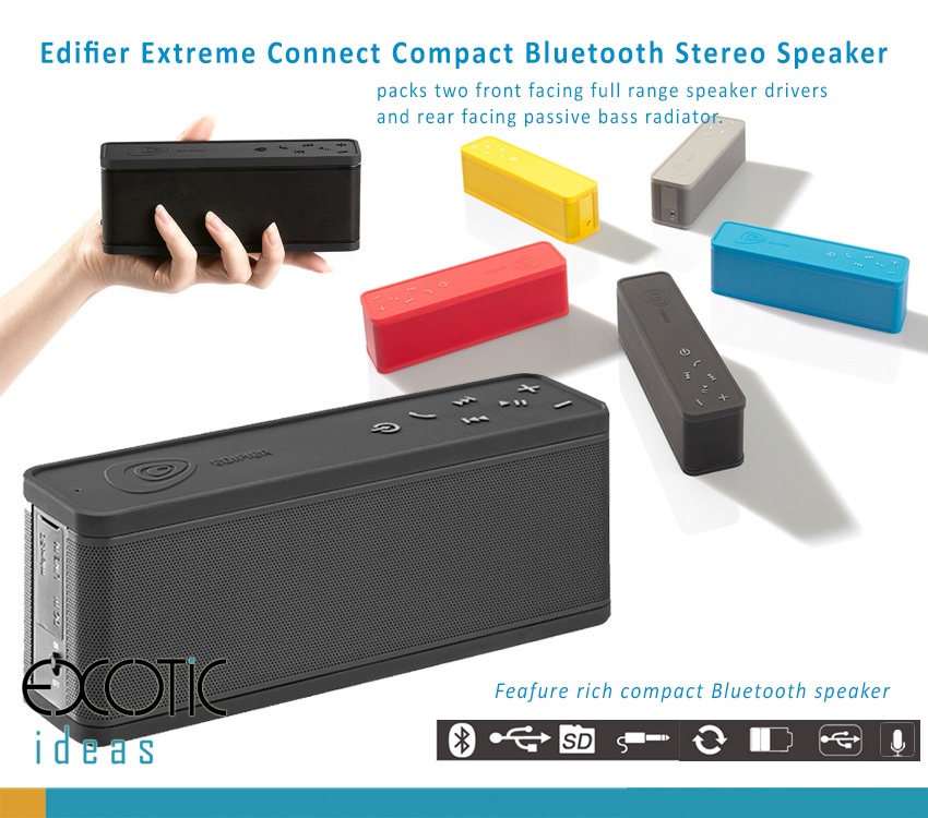 Edifier Extreme Connect I - Bluetooth Speake with two front facing full range speaker drivers and rear facing passive bass radiatorEdifier Extreme Connect , Call Answer, AUX, Micro SD
