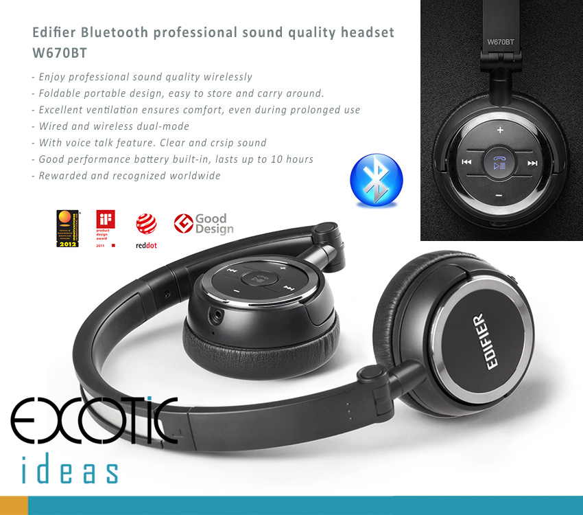 Edifier W670BT - professional sound quality Bluetooth headphone, headset with voice calls feature. Soft leather padded and adjustable ear-cups design