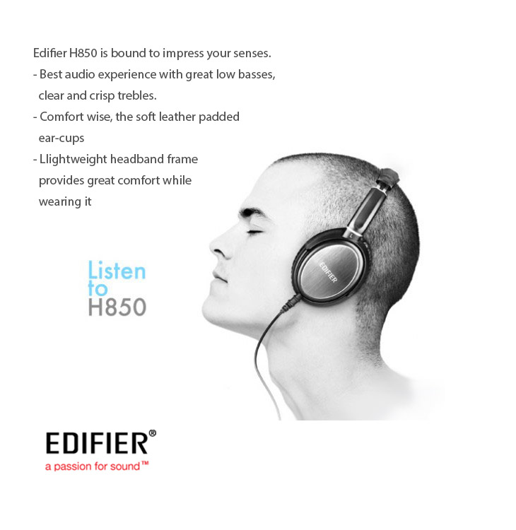 Edifier H850 - Best audio experience with great low basses, clear and crisp trebles. soft leather padded ear-cups