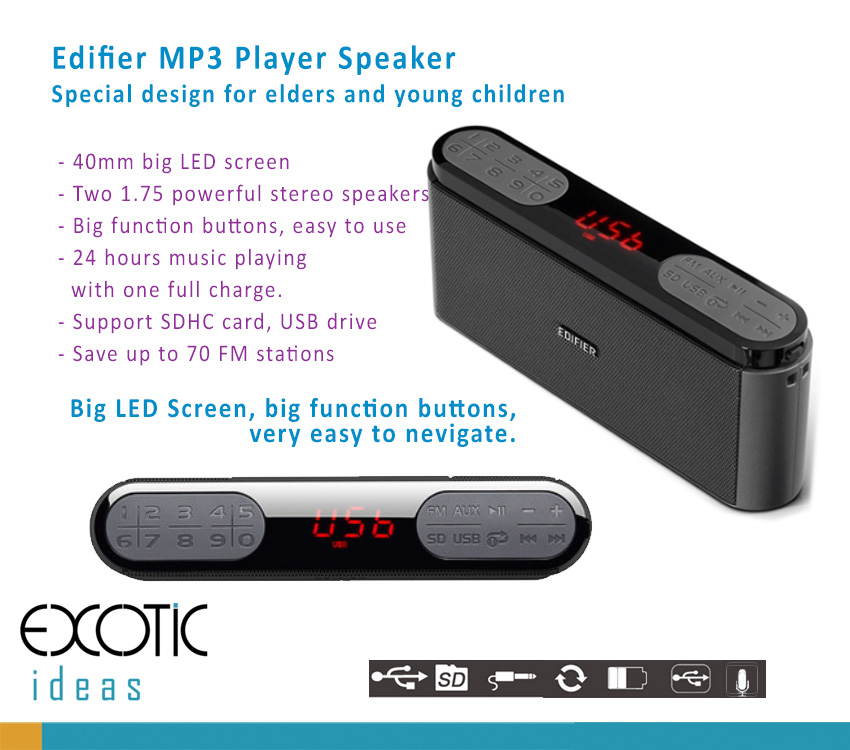 Edifier M19, MP3 Player, FM, Stereo Speaker with powerful bass effect. Big Screen, Big Function Buttons Suitable for Elders and Young Children