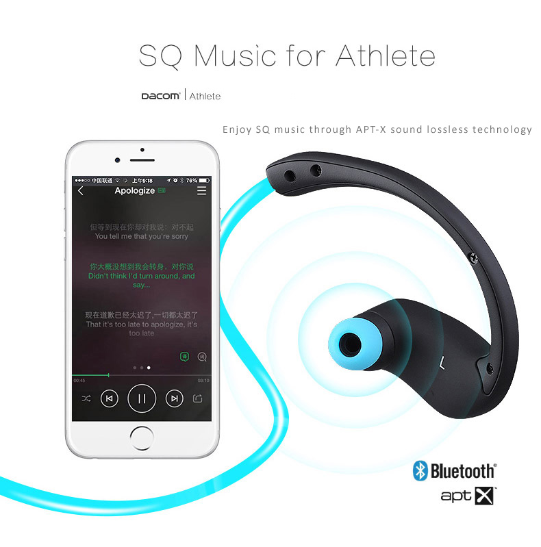 Dacom Athlete Sports Bluetooth 4.0 Wireless Headset, Headphone with NFC, APT-X, CVC enhanced features to achieve great sound effects.