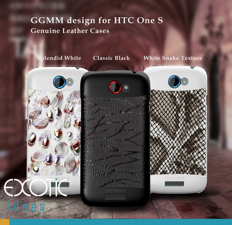 GGMM design for HTC One S Phone Case Skin - Genuine Lambskin - Splendid White, Classic Black, White Snake Textured
