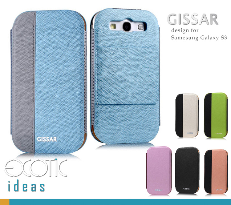 Gissar Samsung Galaxy S3 i9300 Phone Case Skin - Color Clash Series  - Korean PU Leather Flip Case  with Stand Feature  - (Light Color)