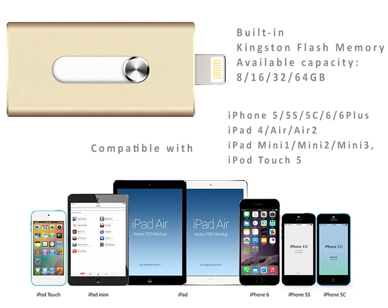 New i-FlashDrive U Disk Storage Memory Stick for  iPhone5 5S 5C 6 6Plus, iPad2 iPad Air/Air, Mini 1/2/3 – No Jailbreak. Capacity : Kingston 8GB/16GB/32GB/64GB